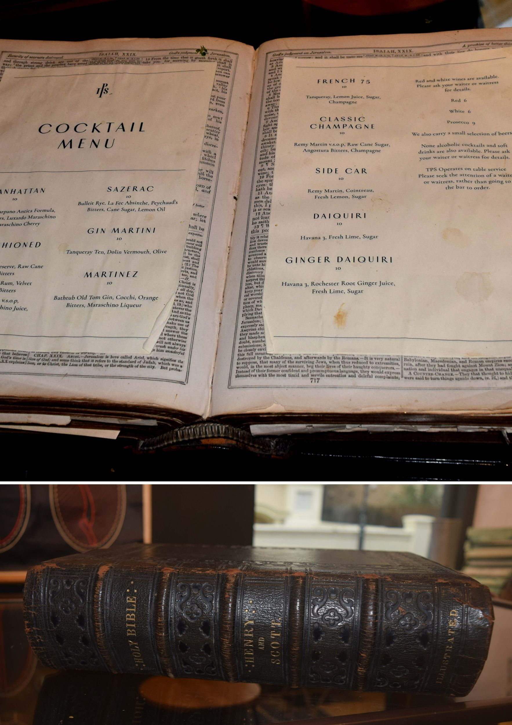 The Potting Shed Menu in a Bible