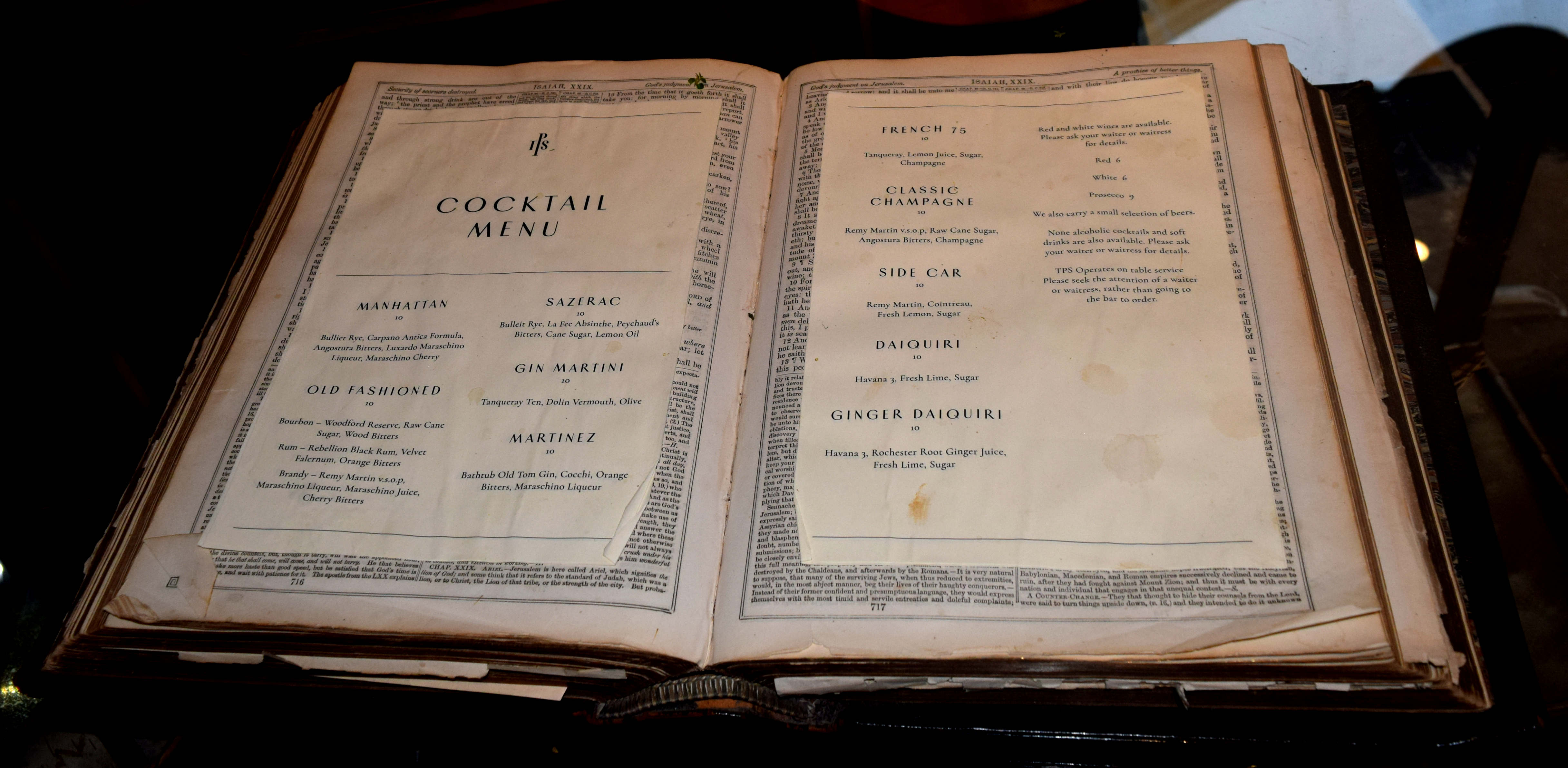 The Potting Shed Cocktail Menu