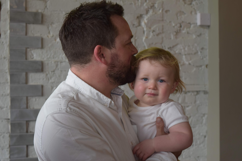 Ben Cuthbert and baby