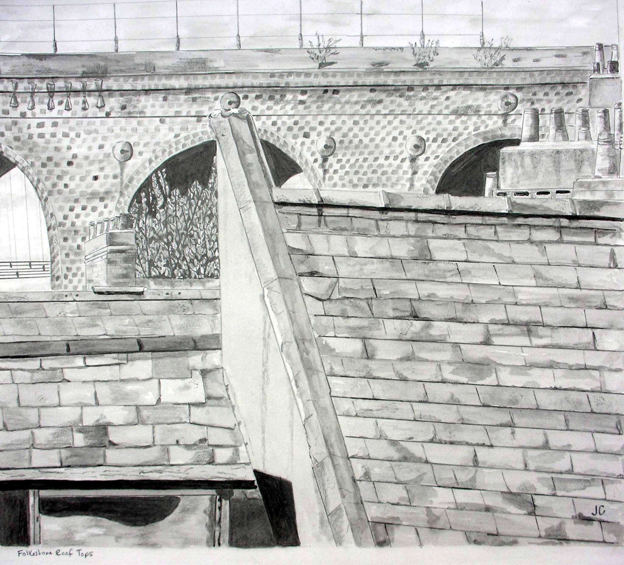 Pencil Sketch by Janice Carrera of Railway Viaduct