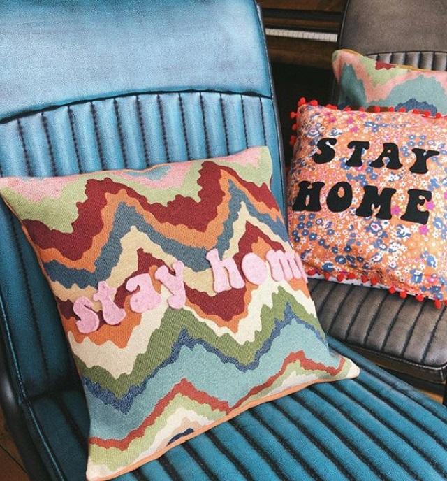 Two Stay Home Cushions Hannah Prizeman