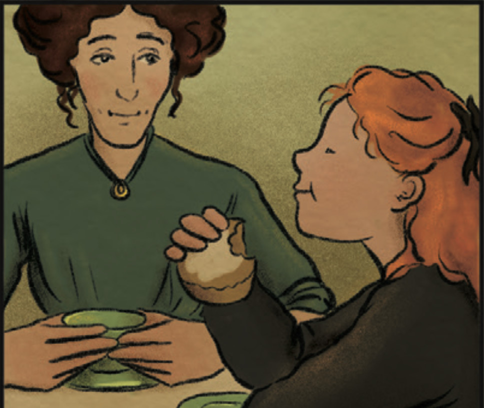 Elise Linden eats a bun with Nora