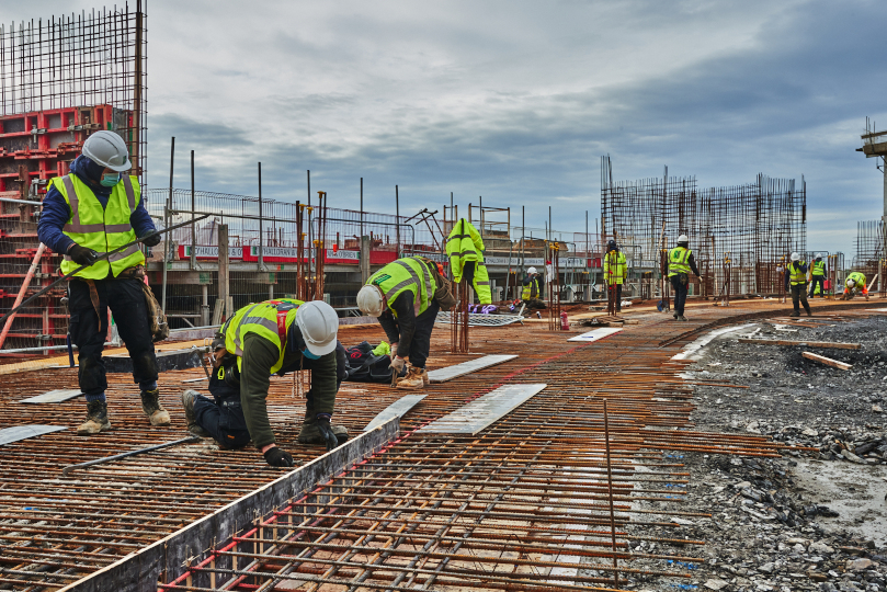 Men at work at the Seafront Development