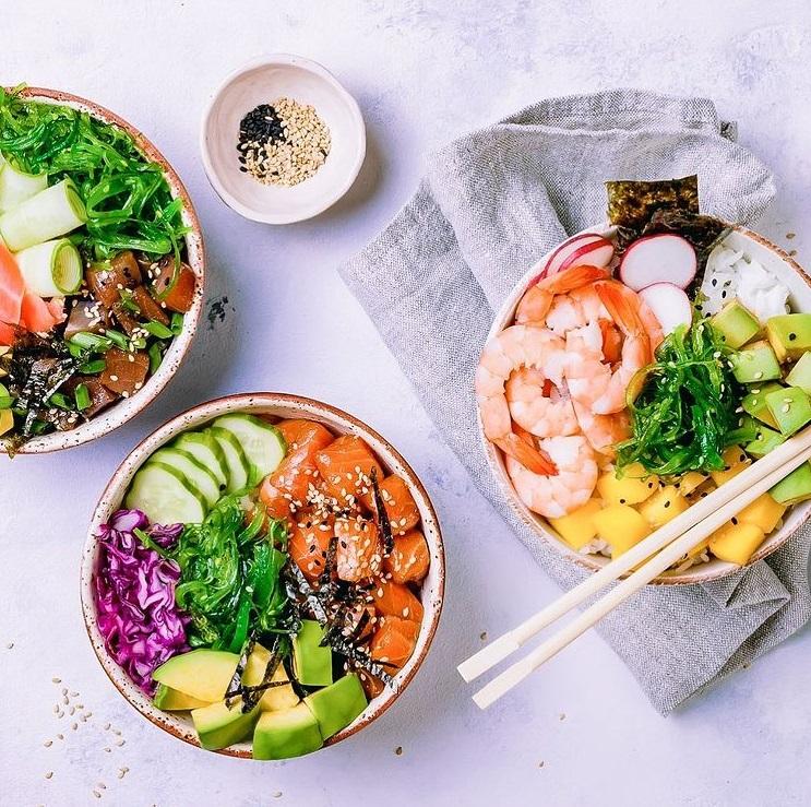 A Hui Hou Poke Bowls Prawn and Salmon