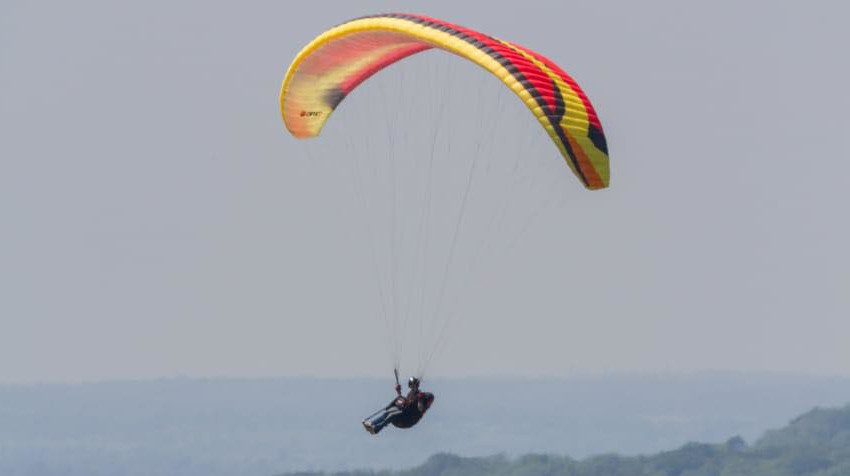 Paragliding over greenery