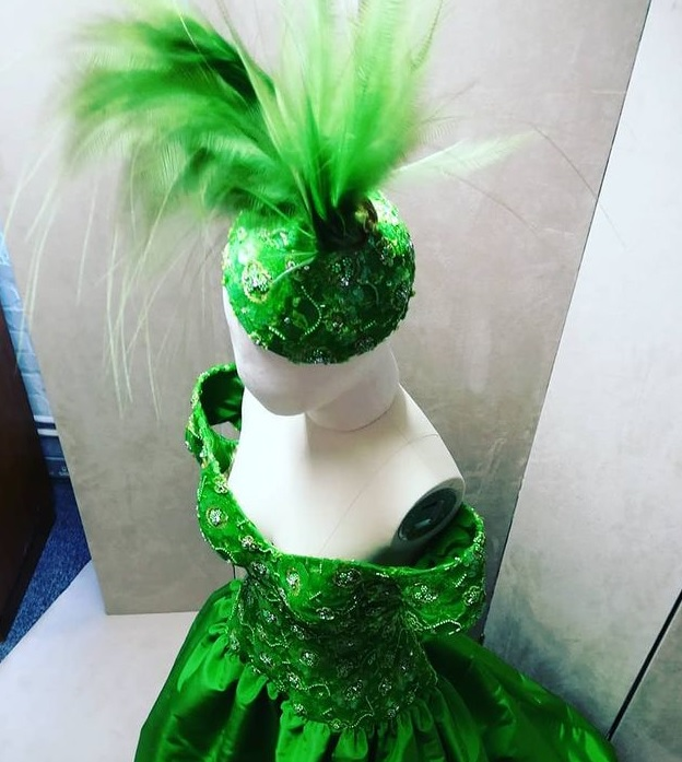 Green Hat and Dress
